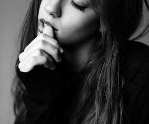 black and white, girl, and long hair image