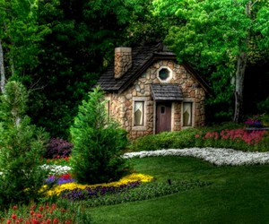 stone, wood, and garden image