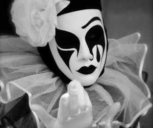 black and white, mask, and clown image