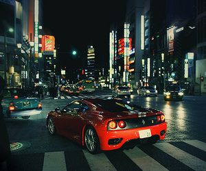 car, city, and ferrari image