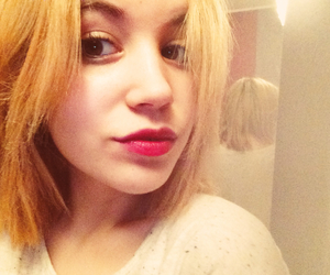 blonde hair, hair, and red lips image