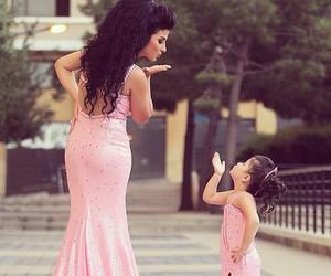dress, pink, and mom image