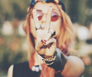 peace, girl, and hippie image