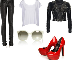 fashion, Polyvore, and leather image