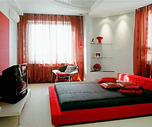 bedroom, red, and interior image