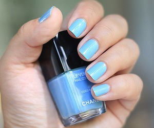 nails, blue, and chanel image