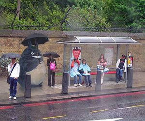 totoro, rain, and umbrella image