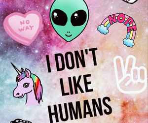 alien, humans, and unicorn image