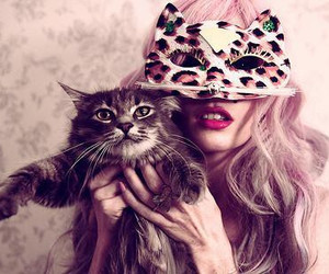 cat, girl, and mask image