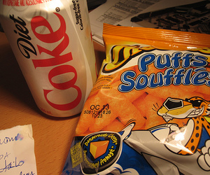 cheese, coke, and puffs image
