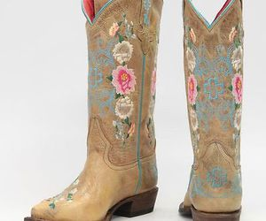 boots, Cowgirl, and floral image