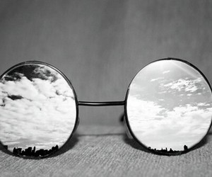 glasses, sky, and black and white image