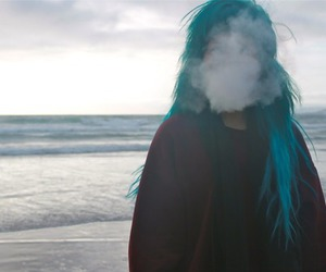 girl, smoke, and hair image