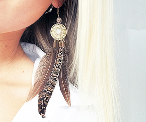 acessories, feather, and hair image