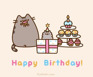 pusheen, birthday, and cat image