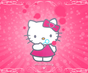 bubbles, hello kitty, and pink image