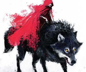 wolf, red, and art image
