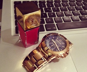 watch, YSL, and gold image
