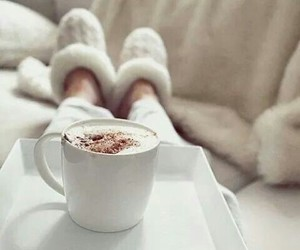 winter, coffee, and white image