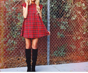 black knee high boots, blonde curled hair, and red plaid dresses image