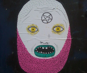 colours, monster, and pentagram image