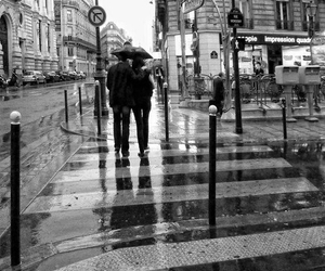 black and white photo, city, and rain image