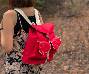backpack, red, and leaf image