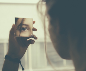 girl, mirror, and eyes image