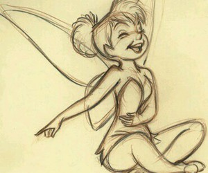 disney, drawing, and tinkerbell image