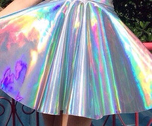 skirt, holographic, and grunge image