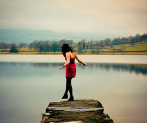 girl, dress, and lake image
