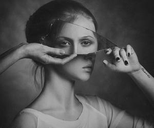 mirror, black and white, and photography image