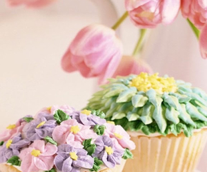 cupcakes, flower, and spring image