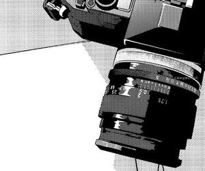 manga, black and white, and camera image