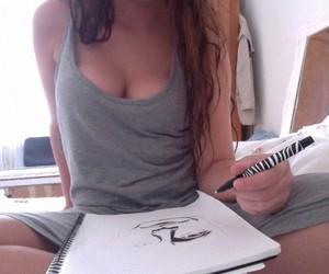 draw, girl, and purple image