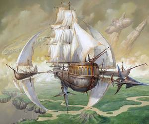 airship, steampunk, and sky image
