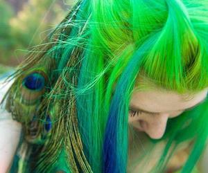 hair, green, and peacock image