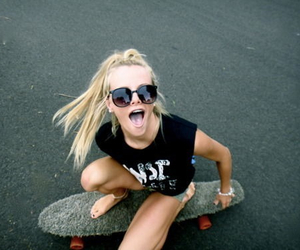 girl, blonde, and skate image