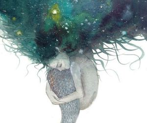 mermaid, art, and drawing image