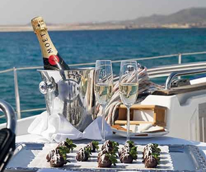 luxury, champagne, and yacht image