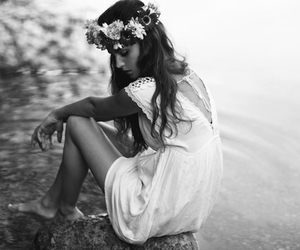 girl, flowers, and water image