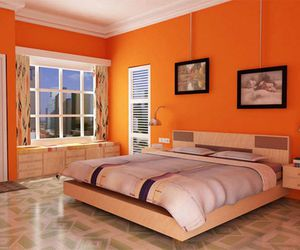 orange colored bedrooms, colored bedrooms, and color for orange couch image