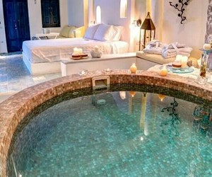 luxury, pool, and bedroom image