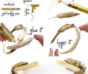 diy, headband, and feather image