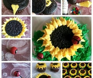 sunflower, cupcake, and oreo image