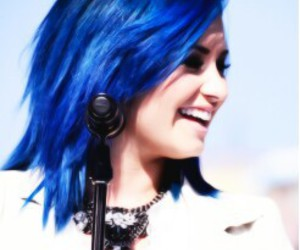 demi lovato, demi, and blue hair image