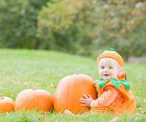 baby, Halloween, and pumpkin image