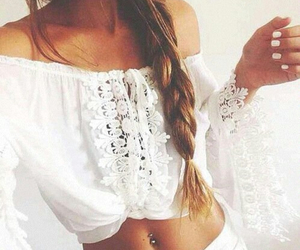 beautiful, long hair, and white image