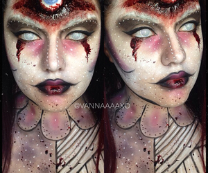 clown, contacts, and facepaint image