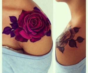 tattoo, rose, and shoulder image